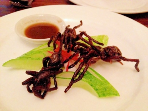 plate with edible tarantualas at Romdeng restaurant in Cambodia
