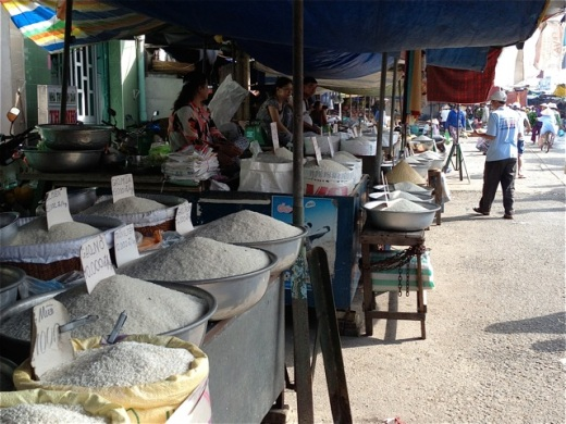 rice stalls displaying local varieties for sale in a local market in Vietnam