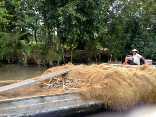 rice straw piled high on a barge in Vietnam