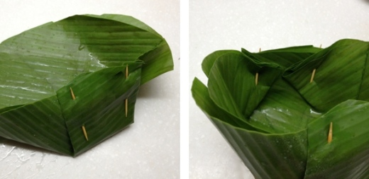 banana leaf bowls, how to assemble with toothpicks